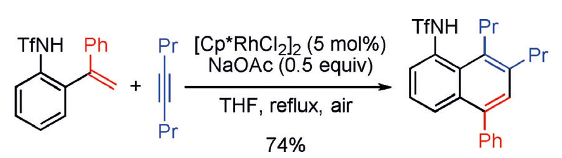 Rhodium‐catalyzed annulation of ortho‐alkenylanilides with alkynes: Formation of unexpected naphthalene adducts